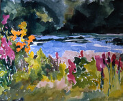 Flowers by the River SOLD  (Prints Available)